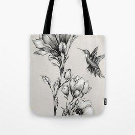 Magnolia Flower and Hummingbird Tote Bag