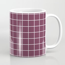 Wine dregs - violet color - White Lines Grid Pattern Coffee Mug