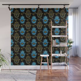 Hamsa Hand pattern - Gold and Blue glass Wall Mural