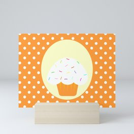 orange cupcake Mini Art Print