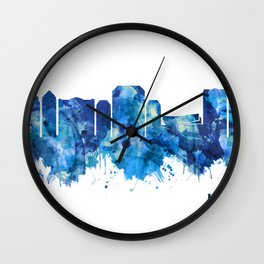 Irving Texas Skyline Blue Wall Clock