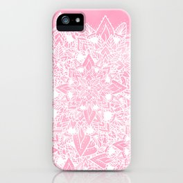 Modern white floral lace mandala pink watercolor illustration pattern iPhone Case