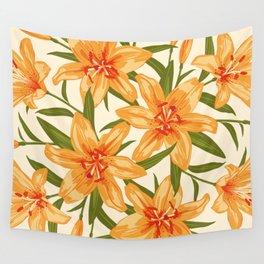 Orange Lilies. Flower illustration Wall Tapestry