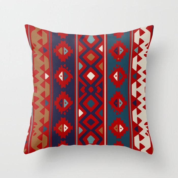 Red Blues Cream Aztec Throw Pillow