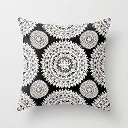 Black and Metallic White Floral Textile Mandala Throw Pillow
