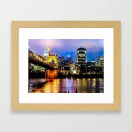 Cincinnati Ohio Skyline and the Ohio River Framed Art Print