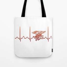 Navy Heartbeat Tote Bag