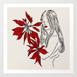 Girl with Red Flowers Art Print