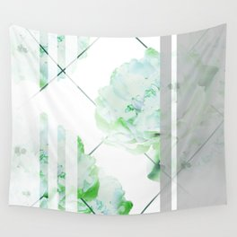 Abstract Geometric Lines Green Peonies Flowers Design Wall Tapestry