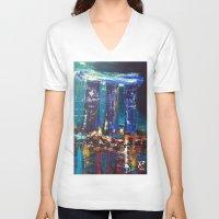 singapore V-neck T-shirts featuring Marina Bay Sands Singapore by Kasia Pawlak