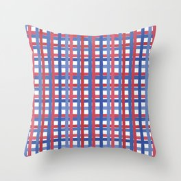 4th of July Gingham Throw Pillow