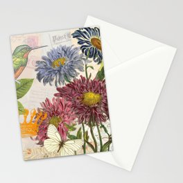 Dahlia Flowers with a Bird and a Crown Stationery Cards