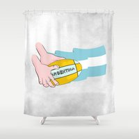 rugby Shower Curtains featuring Argentina Rugby by mailboxdisco
