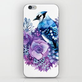 Blue Jay in Violet Flowers iPhone Skin