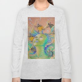 Mermaid With Baby Turtles Drawing Long Sleeve T-shirt