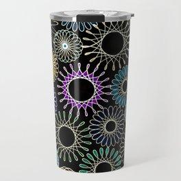 Black background multi retro Spirograph Travel Mug
