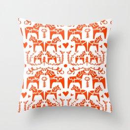 Dala Horses Pattern Throw Pillow