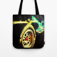 formula 1 Tote Bags featuring Formula 1 by frenchtoy