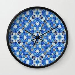 Blue and White Holy Cross Mosaic Glass pattern Wall Clock