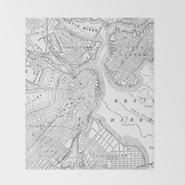 Vintage Map of Boston (1878) Throw Blanket