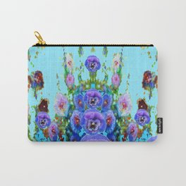 MODERN BLUE WESTERN GARDEN  PURPLE PANSY FLOWERS Carry-All Pouch