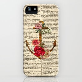 Vintage Anchor with Flowers Dictionary Art iPhone Case