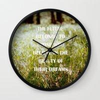 future Wall Clocks featuring Future by Nina Sinitskaya