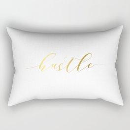 "Inspirational Quote ""Hustle"" Hustle Quote Print Typography Print Quote Gold Foil Typography Print Rectangular Pillow"