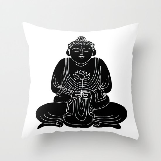 Buddha with Lotus Flower Throw Pillow