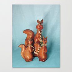 Wooden Squirrel Bondage Family Canvas Print