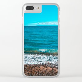 Blue sea at Greece with stony beach Clear iPhone Case