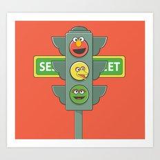 Sesame Traffic Light Art Print