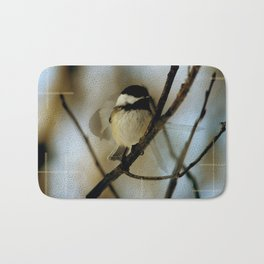 Black capped chickadee in motion Bath Mat