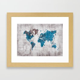 world map 96 blue #worldmap #map Framed Art Print