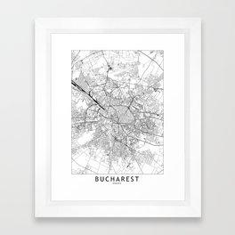Bucharest White Map Framed Art Print