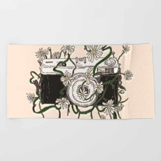 Vintage Camera Blooms Beach Towel