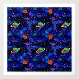 Neon Saturn Pattern Art Print