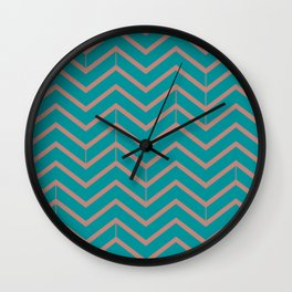Viridian and Rose Zigzags Wall Clock