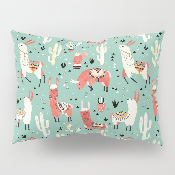 Llamas and cactus in a pot on green Pillow Sham