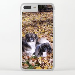 Playing in the leaves Clear iPhone Case
