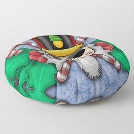 Nutcracker Skull on Wintery Frosted Background Floor Pillow