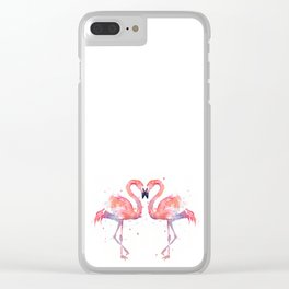Pink Flamingo Love Two Flamingos Clear iPhone Case