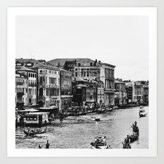 Along the Grand Canal b&w Art Print