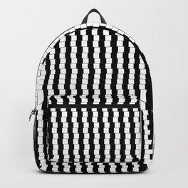 Offset Black and White Lines Pattern Illustration Backpack