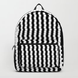 Offset Black and White Lines, Hypnotic Block Pattern Illustration Backpack