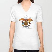 bookworm V-neck T-shirts featuring Bookworm by Tayfun Sezer