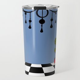 A Chandler with Checkered Tile and Topiaries Travel Mug