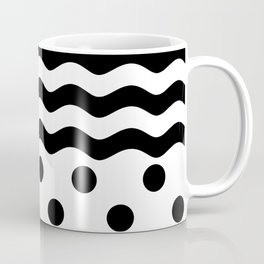 WAVES & POLKA DOTS (BLACK-WHITE) Coffee Mug