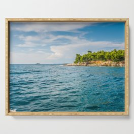 View to the island from sea in Croatia Serving Tray