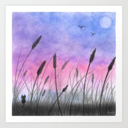 Cat Amongst the Cattails Art Print
